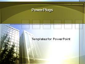 Elegant presentation theme enhanced with office building with sunshine in background, business, commercial real estate