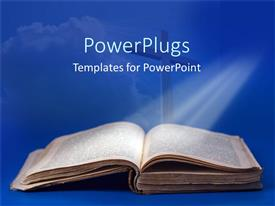 Beautiful PPT layouts with an old Bible and cross for religious studies on a blue background