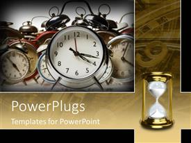 PPT theme consisting of old clocks and hourglass symbolize time passing past future