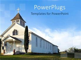 Presentation design with old white country church with green field