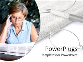 Presentation design consisting of old woman with reading glasses reading newspaper