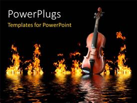 Presentation design having old wooden violin on water waves with flames