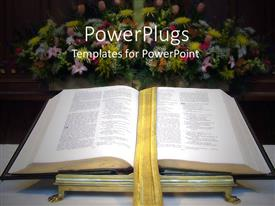Theme with open Bible with golden bookmark on altar with large flower bouquet