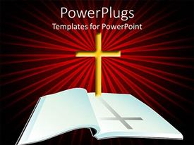 PPT theme consisting of open Bible with yellow cross on light rays red and black background