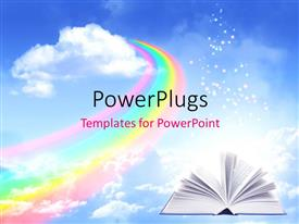 PPT theme with open book with rainbow, clouds and sky