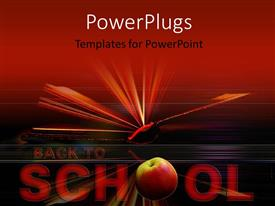 Beautiful presentation with open book in red background with text back to school