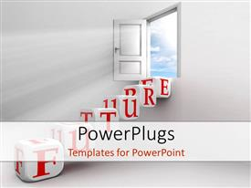 Audience pleasing PPT theme featuring an open door with the word future