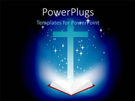 Presentation theme with an open Holy Bible and a brightly lit cross