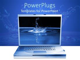 Beautiful presentation with open laptop with background of close up high speed water drop