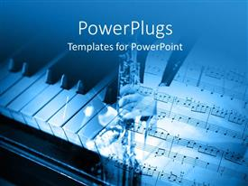 Jazz powerpoint templates ppt themes with jazz backgrounds colorful slides having an open music note page and a piano by the side template size toneelgroepblik