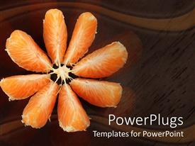 Amazing theme consisting of open orange slices on wooden reflective surface, brown background