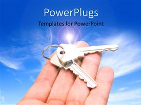 PPT layouts consisting of an open palm with two keys on it over a clear sky