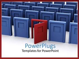 Audience pleasing slides featuring open red door among closed blue doors
