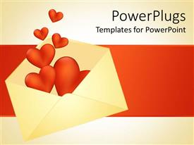 Elegant PPT layouts enhanced with open white colored envelop with red hearts floating out
