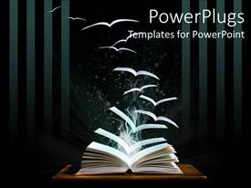 Elegant presentation theme enhanced with opened book on table with pages flying like birds out of the book fading into the black background