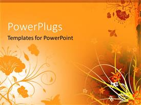 Slides having orange background with flowers and bee