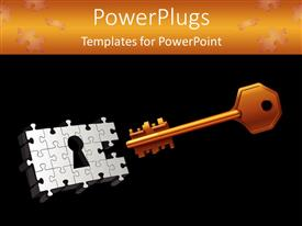 Elegant PPT theme enhanced with orange gold key with puzzle keyhole on black background with orange top margin