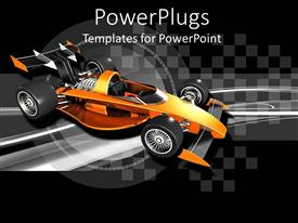 Slide set with orange race car with black and silver checkered background