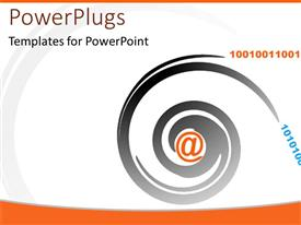 Amazing PPT theme consisting of an orange @ symbol with a black swirl round it