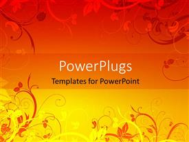 Beautiful presentation theme with orange and yellow color vector floral depiction