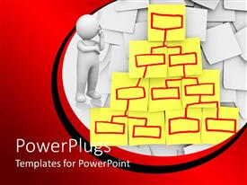 Colorful PPT theme having organizational chart diagram on yellow sticky notes with red marker and white 3D figure thinking