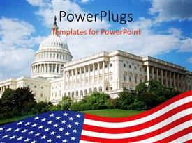 Presentation enhanced with outside view of US Capitol building with blue sky, white clouds, landscaping, and American flag