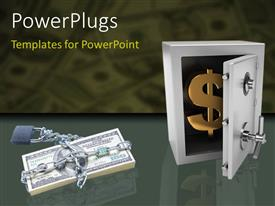 Presentation theme featuring padlock and cain round dollar bills with gold dollar symbol in steel safe