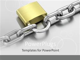 Presentation design having padlock on chain, security, gray background