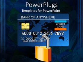 PPT theme having padlocked credit card with computer chip