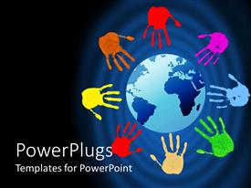 Presentation design with painted hand prints in several colors arranged around the world on blue background