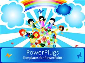 Colorful presentation design having a painting of four happy school kids standing on an earth with flowers