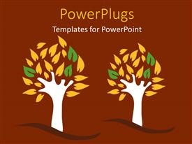 Presentation design with a painting of two tress on a brown colored background