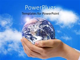 Elegant presentation theme enhanced with a pair of adult hands holding an earth globe