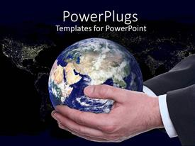 PPT theme enhanced with a pair of adult male hands holding a globe