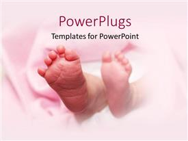 Elegant PPT theme enhanced with a pair of baby feet on a pink background