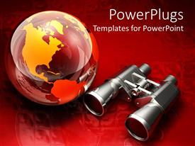 Colorful presentation theme having a pair of binoculars with globe and red background