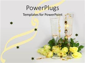 Slide deck having pair champagne glasses surrounded by yellow rose bouquet