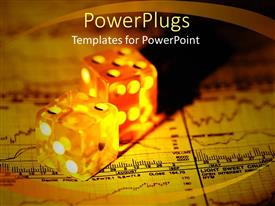 PPT layouts with a pair of dices together on a financial report