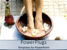 PPT layouts enhanced with pair of female legs dipped in a foot bowl with flowers