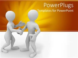 Audience pleasing presentation featuring a pair of figures shaking hands with each other