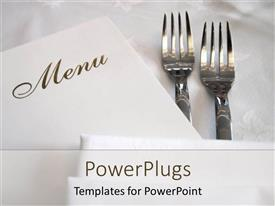 Presentation theme having a pair of forks with the menu