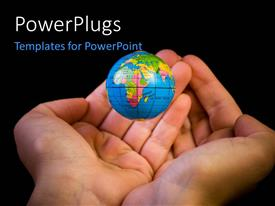 Elegant PPT theme enhanced with a pair of hands with a globe and blackish background