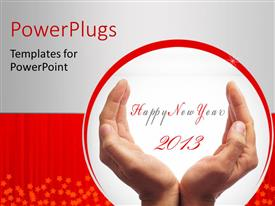 PPT theme enhanced with a pair of hands with a happy new year wish