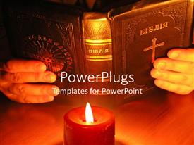 Elegant PPT layouts enhanced with pair hands holding old Bible in front of burning red candle