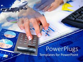 Presentation theme having pair of hands holding a pen and pressing a calculator