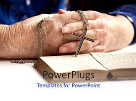 Colorful PPT theme having a pair of hands holding a rosary with an open book