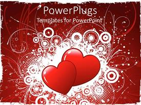 Amazing presentation theme consisting of a pair of hearts with floral background