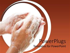 Elegant presentation theme enhanced with a pair of human hands washing with white soap