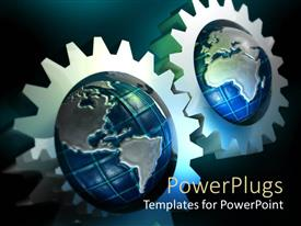 PPT theme enhanced with pair of meshed gears with globes in center