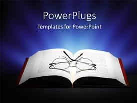 Presentation design featuring pair or reading eye glasses on open book with dark background